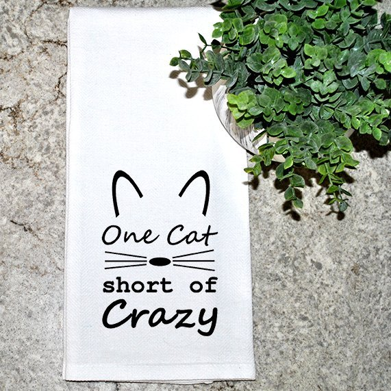 One cat short of crazy dish towel