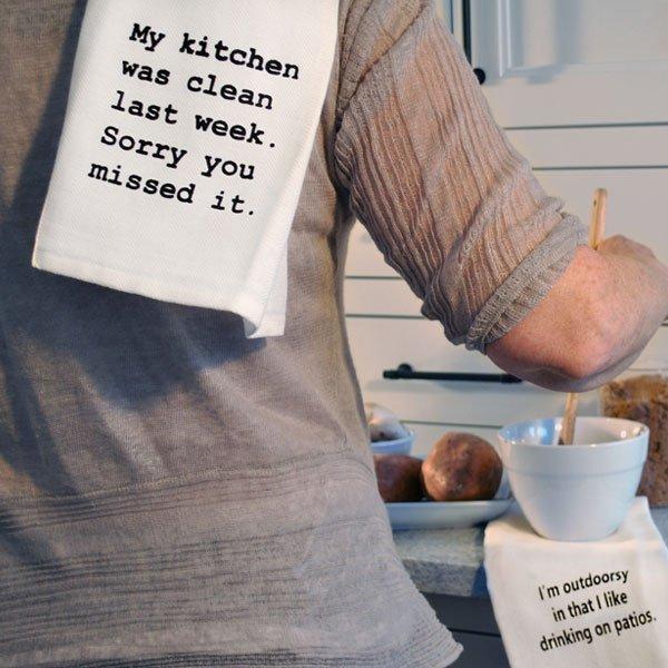 kitchen clean last week tea towel