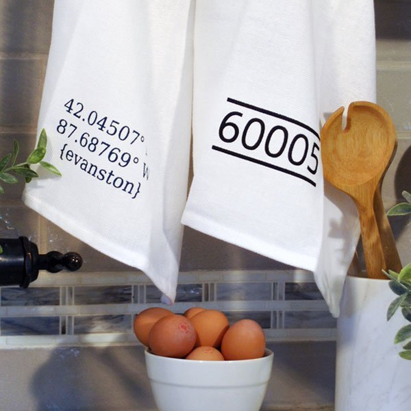 longitude latitude kitchen towel